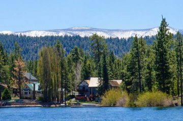 big bear lake with mountains and trees in the background