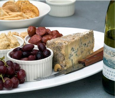 cheese and crackers and wine