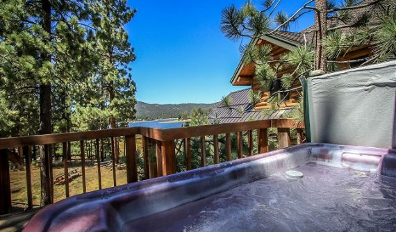 hot tub with mountain view in background