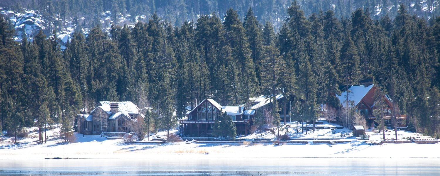 view of big bear lake during the wintertime