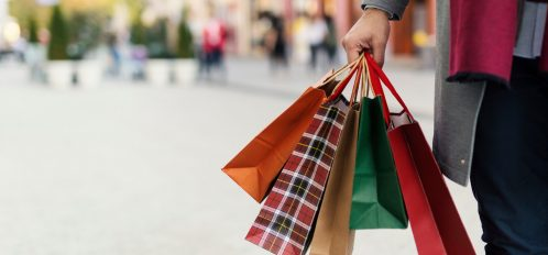 person holding shopping bags