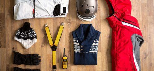 top view of ski apparel