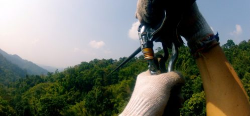 first person view of someone ziplining