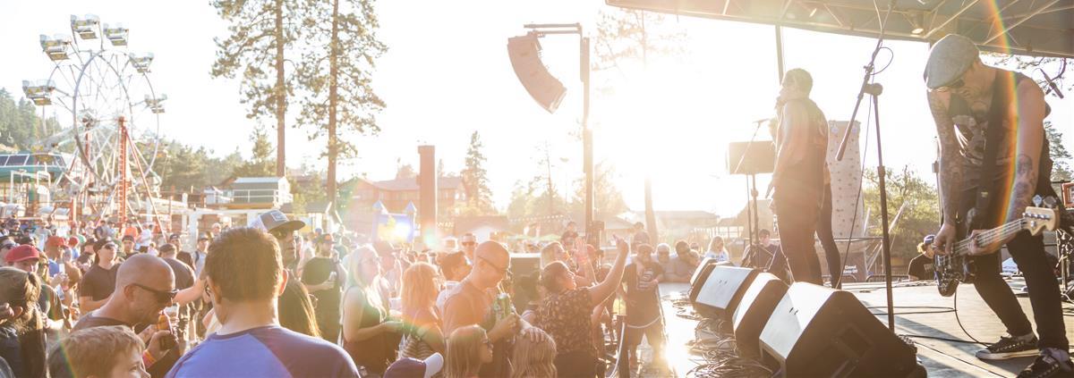 Big Bear Band playing to large crowd at sunset